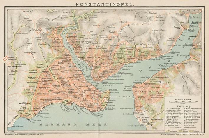 Kart over Konstantinopel/Istanbul fra 1899. Ukjent kartograf.